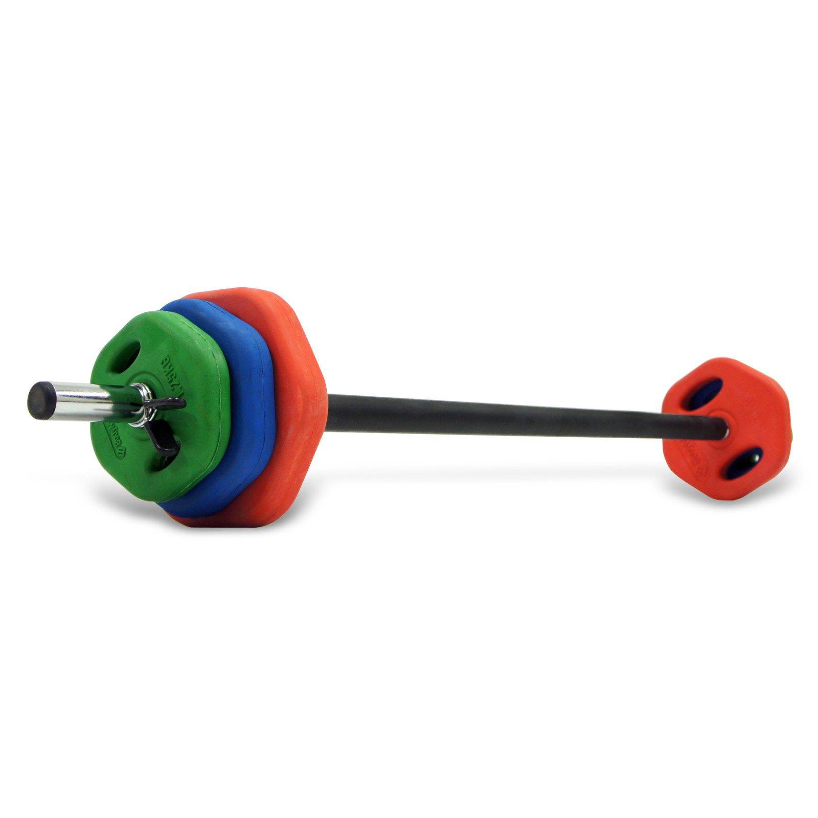 Tesco Dumbbell Set: Bodymax 20Kg Coloured Rubber Studio Barbell Set